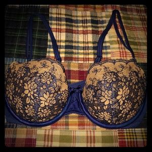 Blue and nude lace balconet